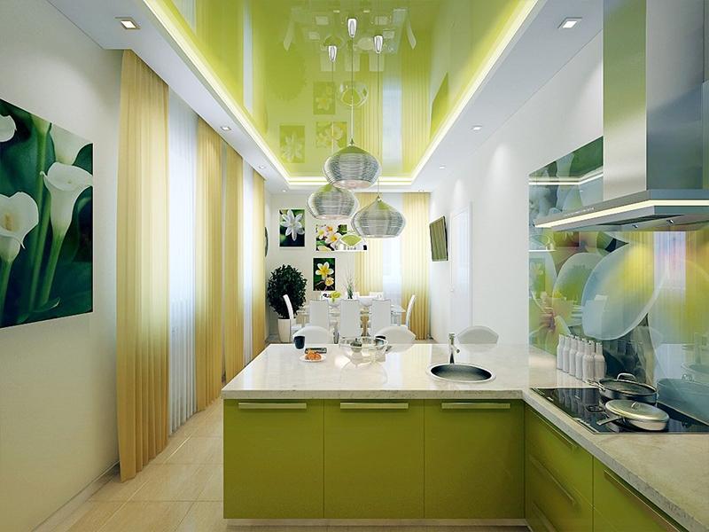 Зелёный глянцевый потолок на кухне